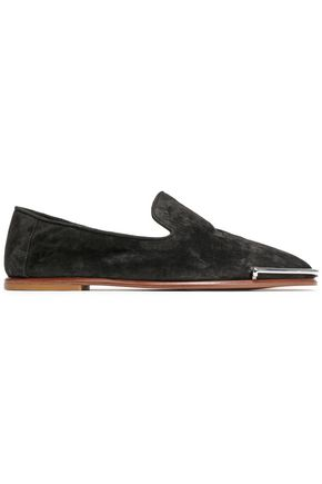 ALEXANDER WANG Silver tone-trimmed suede loafers