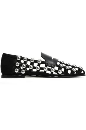 ALEXANDER WANG Cutout studded suede and leather loafers