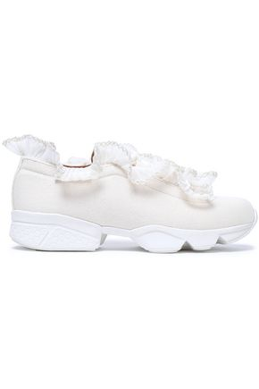 GANNI Tulle and crochet-trimmed ruffled canvas sneakers