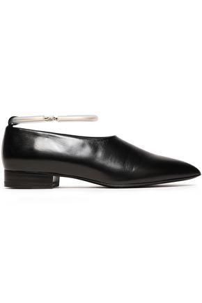 JIL SANDER Ring-embellished leather point-toe flats