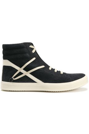 RICK OWENS Striped suede sneakers