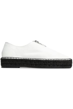 ALEXANDER WANG Zip-detailed textured-leather espadrille sneakers