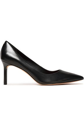 DIANE VON FURSTENBERG Suede-trimmed glossed-leather pumps