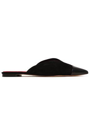 DIANE VON FURSTENBERG Leather-paneled suede slippers