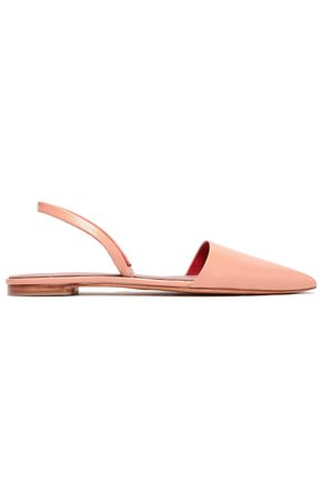 DIANE VON FURSTENBERG Glossed-leather slingback point-toe flats