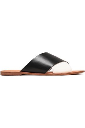 DIANE VON FURSTENBERG Two-tone leather slides