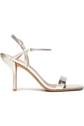 DIANE VON FURSTENBERG Frankie chain-trimmed metallic leather slingback sandals