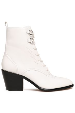 DIANE VON FURSTENBERG Embroidered leather ankle boots