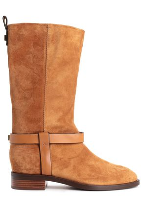 STUART WEITZMAN Leather-trimmed suede boots