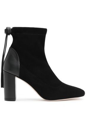 STUART WEITZMAN Leather-paneled suede ankle boots