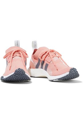 Adidas Originals Sneakers ADIDAS ORIGINALS WOMAN NMD_RACER SUEDE-TRIMMED STRETCH-KNIT SNEAKERS BABY PINK