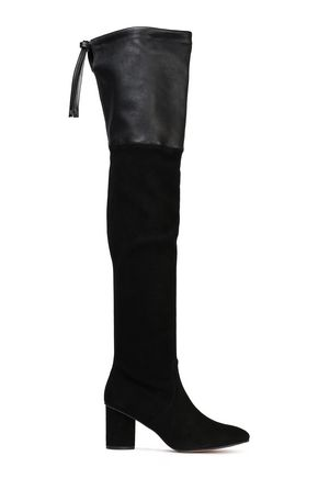 STUART WEITZMAN Leather-paneled stretch-suede thigh boots