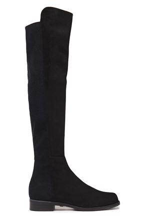 STUART WEITZMAN Jersey-paneled suede over-the-knee boots
