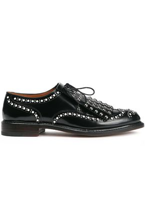 ROBERT CLERGERIE Fringed studded glossed-leather brogues