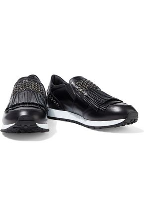 Tod's Ring-embellished Fringed Glossed-leather Sneakers In Black
