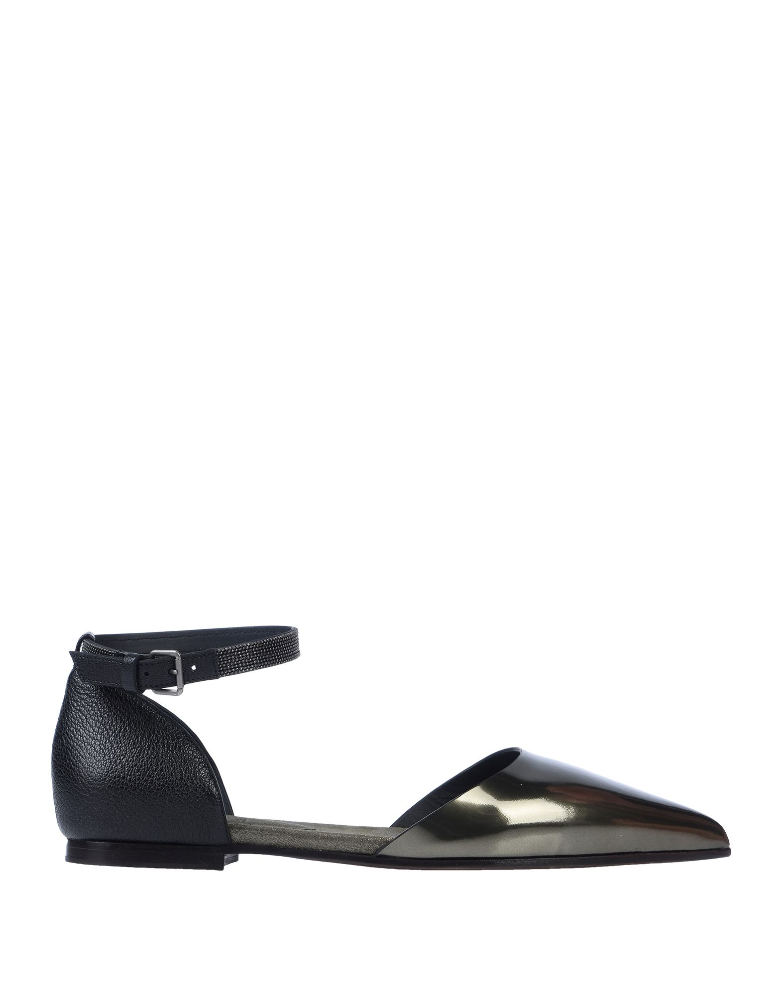 BRUNELLO CUCINELLI Ballet flats. leather, textured leather, laminated effect, metal applications, solid color, narrow toeline, flat, leather lining, rubber sole, buckling ankle strap closure, contains non-textile parts of animal origin. Soft Leather