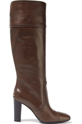 TOD'S Jodie perforated leather knee boots
