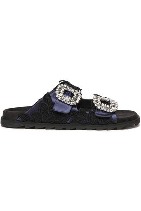 ROGER VIVIER Lace-paneled crystal-embellished satin slides