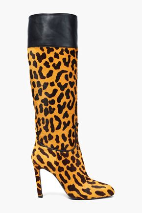 ROGER VIVIER Leather-paneled leopard-print calf hair knee boots