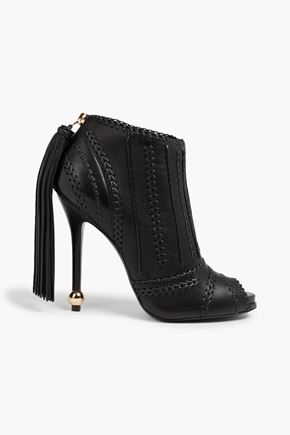 ROGER VIVIER Tasseled braid-trimmed leather ankle boots