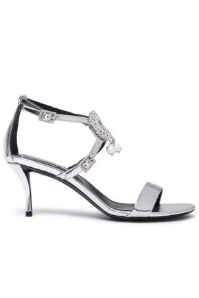 ROGER VIVIER Embellished metallic mirrored-leather sandals