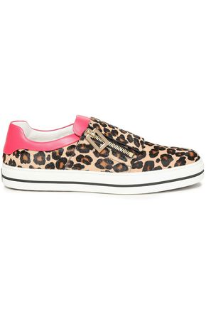 ROGER VIVIER Leather-trimmed leopard-print calf hair slip-on sneakers