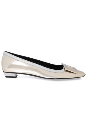 ROGER VIVIER Embellished two-tone mirrored-leather pumps