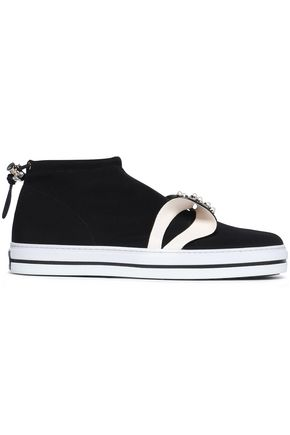 ROGER VIVIER Sneaky Lolita bow-embellished neoprene slip-on sneakers