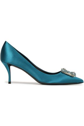 ROGER VIVIER Crystal-embellished satin pumps