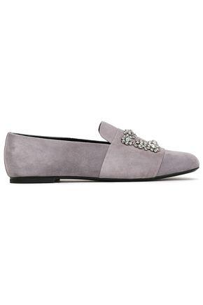 ROGER VIVIER Crystal-embellished suede loafers