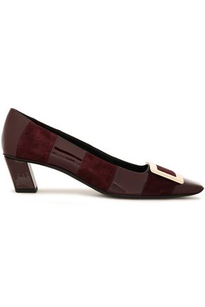 ROGER VIVIER Buckle-embellished striped suede and patent-leather pumps