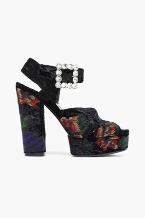ROGER VIVIER Embellished crushed velvet platform sandals