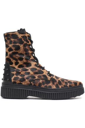 TOD'S Lace-up leopard-print calf hair ankle boots
