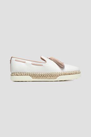 TOD'S Tasseled leather espadrille slippers