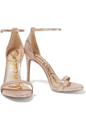 Sam Edelman Sandals SAM EDELMAN WOMAN ARIELLA METALLIC LIZARD-EFFECT LEATHER SANDALS ROSE GOLD