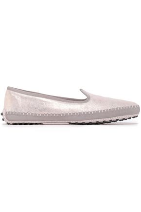 TOD'S Grosgrain-trimmed metallic suede slippers