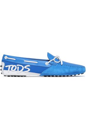 TOD'S Appliquéd leather, suede and neoprene loafers