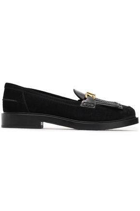 TOD'S Leather-paneled chain-trimmed fringed suede loafers