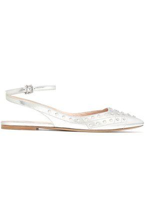 TOD'S Studded metallic textured-leather point-toe flats