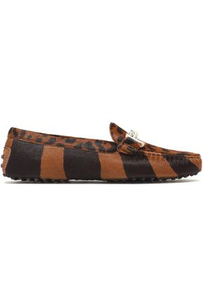 TOD'S Embellished printed calf hair slippers