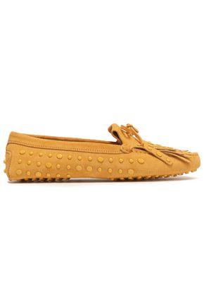 TOD'S حذاء لوفر من الجلد الناعم المزخرف بأزرار معدنية مزين بأشرطة