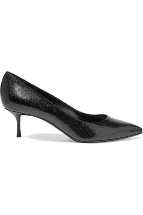 CASADEI Mystica glossed textured-leather pumps