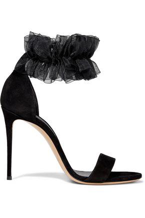 CASADEI Aurora gathered organza-trimmed suede sandals