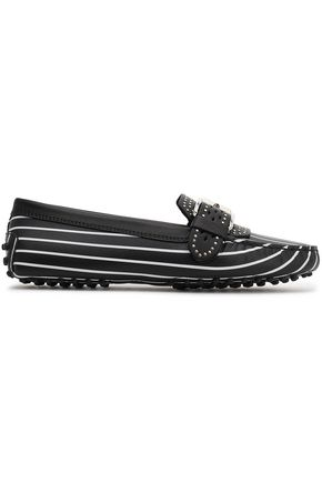 TOD'S Buckled striped leather loafers
