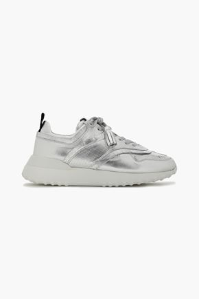 TOD'S Fringe-trimmed metallic leather sneakers