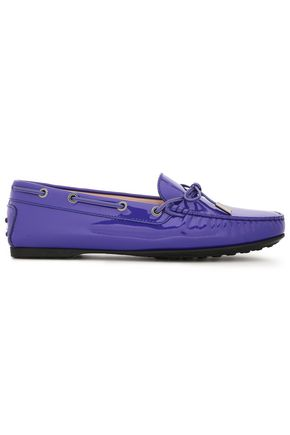 TOD'S Bow-detailed patent-leather loafers