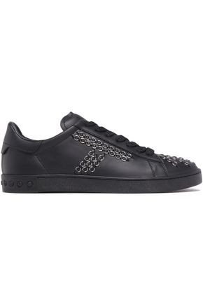 TOD'S Ring-embellished leather sneakers