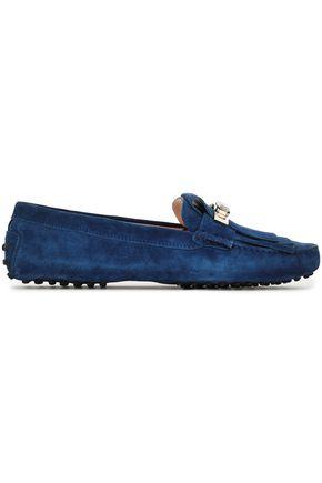 TOD'S Embellished fringe-trimmed suede loafers