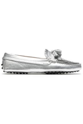 TOD'S Fringed metallic textured-leather loafers