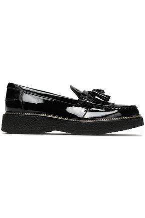 TOD'S Tasseled fringed leather platform loafers
